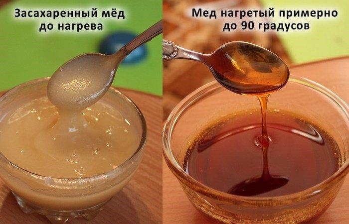 засахаренный мед до и после нагрева